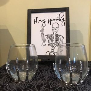NWT Stemless Skeleton Hand Wineglasses (2)